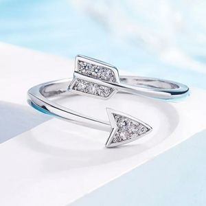 NEW 925 STERLING SILVER PLATED DIAMOND ARROW RING